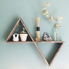 Double Triangle Shelf, Pallet Wood Shelf, Geometric Shelf, Pallet Wood Art, Reclaimed Wood Shelf, Pallet Art by FernwehReclaimedWood on Etsy https://www.etsy.com/listing/274619404/double-triangle-shelf-pallet-wood-shelf