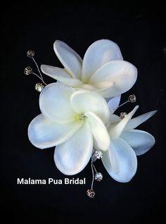 TROPICAL HAIR CLIP -  Hawaiian Plumeria, Bridal, Silk Flower Clip, Beach Wedding, Flower Headpiece, Wedding Hair Accessory, Custom Hair Clip by MalamaPuaBridal on Etsy