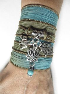 Bohemian Lotus Silk Wrap Bracelet Elephant Yoga Jewelry by HVart, $29.90