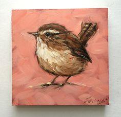 Wren painting, 4x4 inch original oil painting of a Wren. Bird paintings, paintings of birds