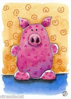 ACEO Original Watercolor Folk Art Illustration Whimsical Animals Little Pink Pig | eBay