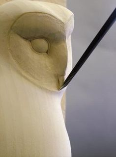 Just recently I had the fortune to see a barn owl returning from a hunting trip, still carrying its prey and this inspired my latest carving, my third sculpture of a barn owl.This carving is an adapted version of an earlier sculpture of a barn owl, Night Wood Carving Designs, Wood Carving Patterns, Wood Carving Art, Stone Carving, Wood Art, Wood Carvings, Bird Sculpture, Animal Sculptures, Hand Carved Walking Sticks