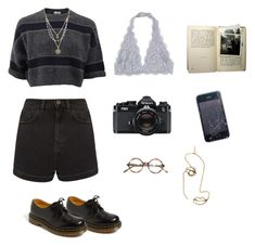 """""""grunge"""" by julietteisinthe80s on Polyvore featuring Brunello Cucinelli, Topshop, Dr. Martens, Alicia Marilyn Designs, Nikon and Rosie Assoulin"""
