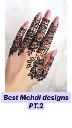 Finger Mehendi Designs, Mehndi Designs Front Hand, Pretty Henna Designs, Modern Henna Designs, Floral Henna Designs, Henna Tattoo Designs Simple, Mehndi Designs Book, Mehndi Designs For Girls, Mehndi Design Photos