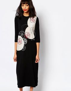 Image 1 of Monki Midi Graphic Print Dress