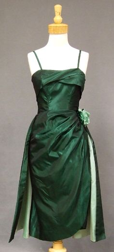 KNOCKOUT Emma Domb Two Toned Green Taffeta 1950's Cocktail Dress