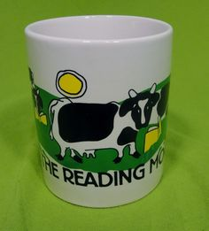 Get in the Reading Mood Coffee Mug Tea Cup Hot Chocolate Moo Cow Punny Teacher #