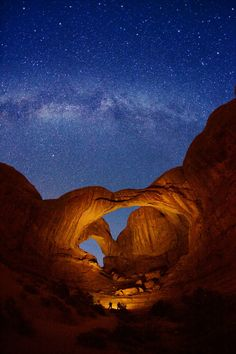 Double Arch and Milky Way stars at Arches National Park in Utah