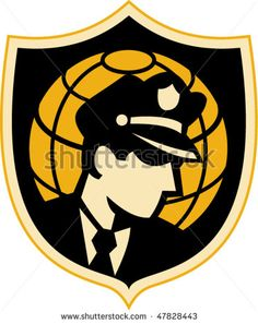 vector illustration of a Security guard or police office with globe in background set inside a shield. #securityguard #retro #illustration