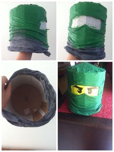 DIY masque ninjago  vert avec du carton et un vieux t-shirt :)