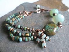 Gemstone Bracelet, Turquoise, Agate, Czech Glass Beads and Copper Bracelet
