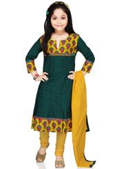 Dark teal blue cotton readymade anarkali kameez designed with abstract print and patch border work. Available with yellow knitted cotton churidar and yellow crushed cotton dupatta. Plus or minus one inch variation in measurement is possible. (Slight variation in color is possible.)