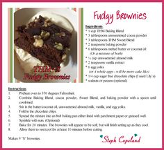 Fudgy Brownies made with Trim Healthy Mama's Baking Blend.   For all THM products visit their store at: https://store.trimhealthymama.com/#