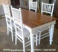 Jual kursi meja makan tiffany jepara dengan desain minimalis, dengan dimensi 1 meja makan denga 4 Kursi, warna finishing cat duco putih.