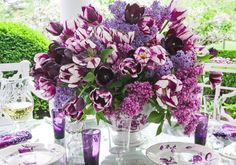 Tulips and purple tablescape - Carolyne Roehm