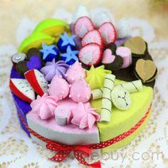 Charming Nonwoven Handmade Fruit Birthday Cakes Artifacts