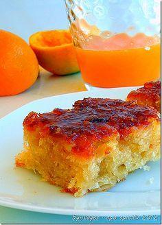 Πορτοκαλόπιτα (Portakalopita) a heavenly dessert. Its a sweet dessert consisting of phyllo soaked in a orangey syrup. Greek Sweets, Greek Desserts, Greek Recipes, My Recipes, Cooking Recipes, Think Food, Love Food, Black Sugar, Brown Sugar
