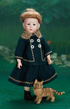 "Theriault's - 12"" German Bisque Character, ""Marie"" with Rare Glass Eyes by K*R, c 1912"