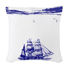 This nautical throw pillow features a design that at quick glance tells a story. It has a sailing ship on a calm ocean out on a beautiful day. Sea birds are also visible. Nautical Flip Flops, Sea Birds, Designer Throw Pillows, Beautiful Day, Sailing Ships, Duvet, Tapestry, Fabric, Ocean
