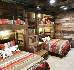 Check out this adult bunk room! Plenty of room for family and friends. This design features pull out drawers, rustic barn wood, tin details, and gas piping. This is one & Read More The post Reclaimed Wood Bunk Room appeared first on Rosa Home Decor. My Spare Room, Bunk Bed Rooms, Cabin Bunk Beds, Rustic Bunk Beds, Cabin Bedrooms, Adult Bunk Beds, Bunk Beds For Adults, Farmhouse Bunk Beds, Queen Bunk Beds