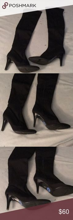 Sexy black thigh high boots Sexy black thigh high boots.  3 1/2 inch heel.  Textile upper with some stretch.  Never worn. Size 6 1/2 M Nine West Shoes Over the Knee Boots