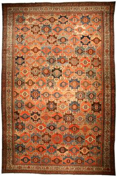 A Persian Malayer rug BB4653 - by Doris Leslie Blau.  A late 19th century Persian Malayer antique rug, having a highly geometric allover pattern in beige and various ...