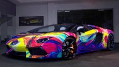 Artist has his work transfered to a vinyl wrap and applied to a Lamborghini Aventador for a rather unsubtle ride.