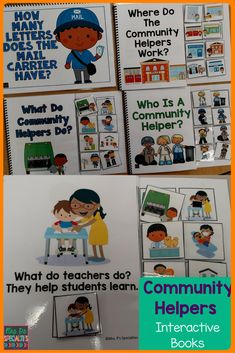 4 Community Helpers Interactive Books. These books will designed to help your students learn to identify community helpers, what they do and where they work. Interactive books are hands on and naturally build attending skills and participation. This set is perfect for special education classrooms, pre-K, kindergarten, speech therapy, and hands on learners.