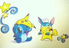 Stitch [as Pikachu] & Pikachu [as Stitch] (Drawing by Unknown) Disney Drawings, Cartoon Drawings, Cute Drawings, Pikachu Pikachu, Pokemon Fan Art, Cute Pokemon, Pokemon Stuff, Stitch And Pikachu, Disney Stich
