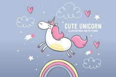 cute unicorn illustrations, pattern by Barkova Nadya on @creativemarket