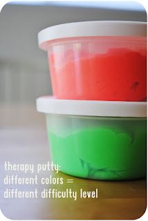 Theraputty exercise ideas. Building fine motor skills.