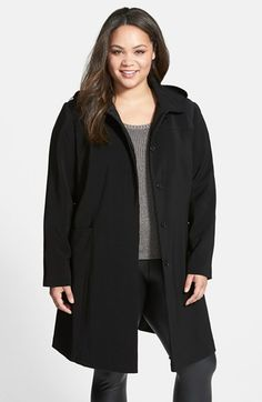 Gallery Pickstitch Detail Nepage Walking Coat with Removable Hood (Plus Size) available at #Nordstrom
