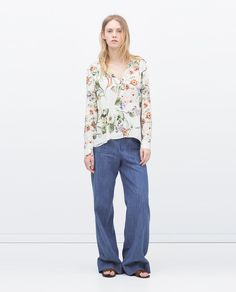 ZARA - WOMAN - PRINTED TOP WITH UNEVEN HEM