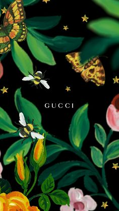 Picture, Gucci, Gucci art, painting, nature, bee, butterfly