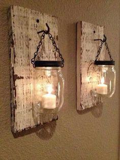 White barn wood mason jar candle holder, SET of two handmade - Home Decor Diy Home Decor Rustic, Handmade Home Decor, Unique Home Decor, Home Decor Items, Cheap Home Decor, Farmhouse Decor, Farmhouse Style, Handmade Lamps, Home Decoration