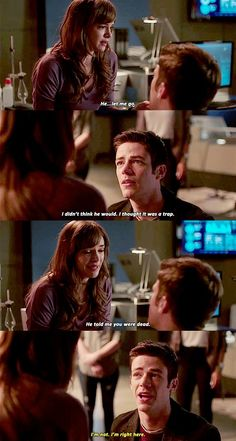 "danielle nicole panabaker (dr. caitlin snow / killer frost) / thomas grant gustin (the flash / bartholomew henry ""barry"" allen) - season 2, episode 22, invincible"