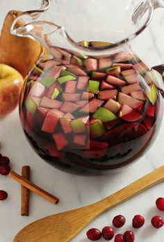 Pomegranate cranberry sangria (Love the juice combinations.  I will find a way to make this without alcohol)