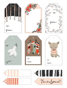 Printable Gift Tags Printable Gift Tags by Kelli Murray - click through for many more!Printable Gift Tags by Kelli Murray - click through for many more! Free Printable Christmas Gift Tags, Holiday Gift Tags, Printable Tags, Free Printables, Printable Templates, Label Templates, Templates Free, Noel Christmas, Christmas Crafts