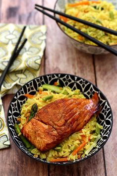 Lacquered Salmon and Pilau Rice with Spring Vegetables – Amandine Cooking by gfrappin Pilau Rice, Vegetable Rice, Fish And Seafood, Tandoori Chicken, Health And Wellness, Salmon, Healthy Lifestyle, Pork, Menu
