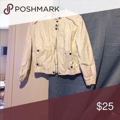 Jacket White Jacket with buttons and a zipper Jackets & Coats Utility Jackets
