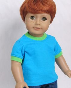 American Girl Boy Doll Clothes  Turquoise & Lime by Minipparel, $10.00