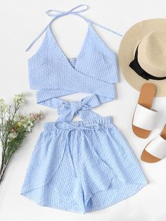 Knot Back Halter Top With ShortsFor Women-romwe Cute Comfy Outfits, Cute Summer Outfits, Short Outfits, Stylish Outfits, Cool Outfits, Teen Fashion Outfits, Cute Fashion, Outfits For Teens, Girl Fashion