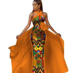 Tailor-Made African Dashiki Sleeveless Prom Dresses for : Dashiki long dress – Afrinspiration Ankara Dress Styles, Latest African Fashion Dresses, African Dresses For Women, African Print Fashion, African Attire, African Outfits, African Theme, Ankara Gowns, African Dashiki