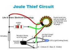 """Joule thief Circuit ...... """"Joule thief"""" is a nickname for a minimalist self-oscillating voltage booster that is small, low-cost, and easy-to-build; typically used for driving light loads. It can use nearly all of the energy in a single-cell electric battery, even far below the voltage where other circuits consider the battery fully discharged (or """"dead""""). Hence the name suggests the notion that the circuit is stealing energy or """"Joules"""" from the source. The term is a pun on the expression…"""