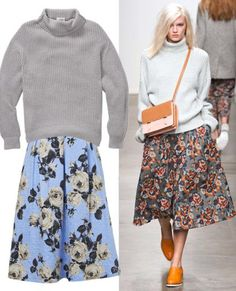 CHUNKY KNIT + FLORAL MIDI Runway inspiration: Karen WalkerLet the city slickers have their sleek graphic lines. For a charming rustic vibe, seek out a chunky turtleneck sweater (Wilfred, $165; aritzia.com) and a ladylike rose texture midi (Topshop, $96; top