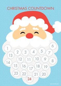 Luxurious And Splendid Christmas Countdown Calendar Printable To Santa Beard Play Go Christmas Activities For Kids, Preschool Christmas, Christmas Printables, Kids Christmas, Santa Countdown, Christmas Countdown Calendar, Advent Calendar, Christmas Projects, Christmas Crafts