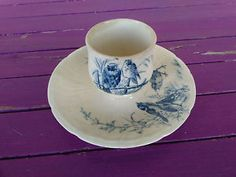 Coquetier Faïence Bleue Gien Ancien Oiseaux | eBay Gien, Blue Eggs, Egg Cups, Tea Time, Tableware, Ebay, Collection, Tea Pots, Mugs