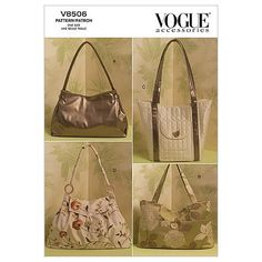 Vogue accessories Vogue Shoulder Bags The pieces are uncut, factory-fold, it does include the instructions. The McCall Pattern Co. Vogue Patterns, Mccalls Patterns, Purse Patterns, Sewing Patterns, Crochet Patterns, Crochet Books, Sewing Stores, Vintage Patterns, Sewing Crafts