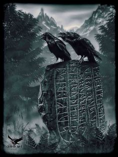 Huginn and Muninn on a runestone.