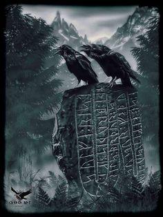 gentleman-harrington: Huginn and Muninn on a runestone.Hugin og Munin på en runestein.